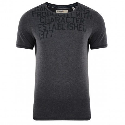 Garcia Crew Print T-shirt Shade Grey Image