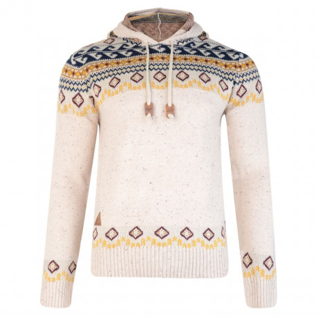 Rock & Revival Olly Fair Isle Hooded Knit Jumper Cream Image