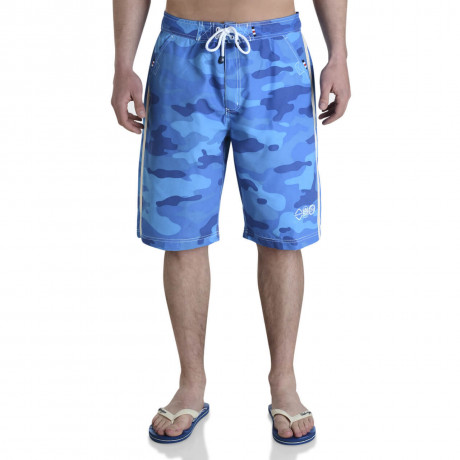 Smith & Jones Beach Swim Shorts & Flip Flop Set Camo Blue Image