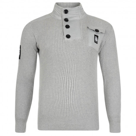 Crosshatch Ribbed Cotton Knit Jumper Light Grey Image