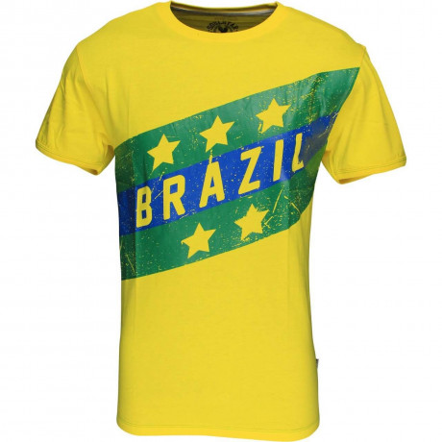 Soul Star Brazil Flag T-shirt Yellow Green Image
