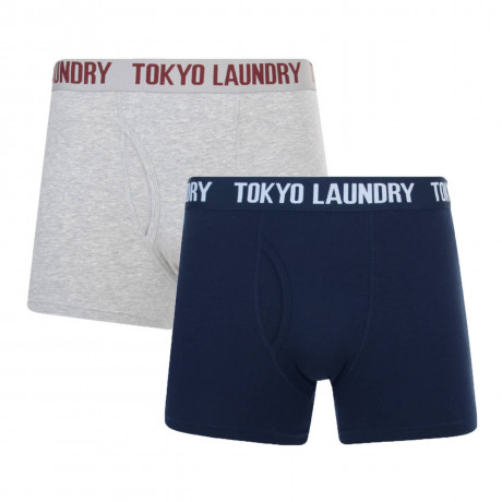 Tokyo Laundry 2 Pack Boxer Shorts Underwear Grey & Navy Image