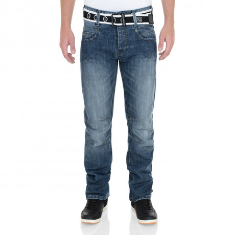 Crosshatch Straight Fit Oakland Jeans Faded Stone Wash Image