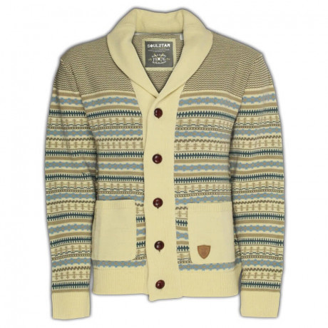 Soul Star Norwegian Knit Button Front Cardigan Sand Beige Image