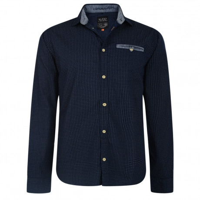 Blend Regular Fit Long Sleeve Pattern Shirt Navy Diamond Image