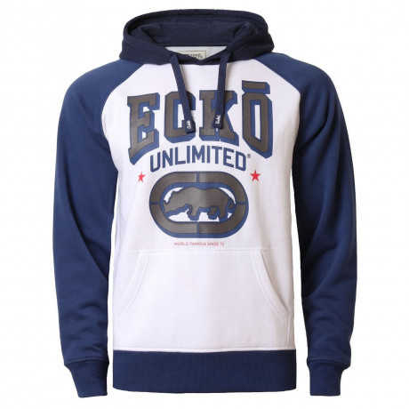 Ecko Unlimited Hoodie Logo Hooded Sweatshirt White Blue Image