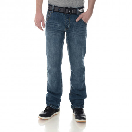 Crosshatch Straight Fit New Wak Jeans Faded Stone Wash Image