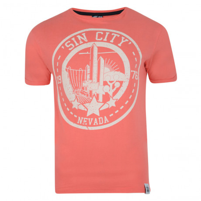 Soul Star Print T-shirt Sin City Las Vegas Coral Image