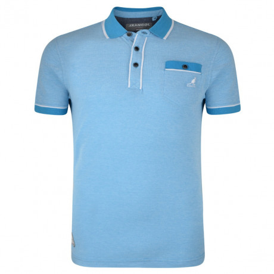 Kangol Polo Pique T-Shirt Sky Blue Marl Image