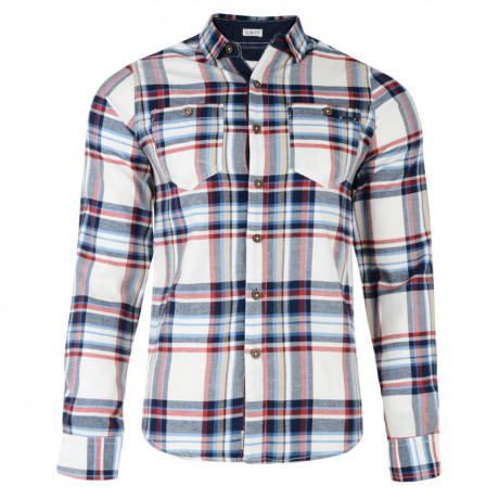 Lee Cooper Long Sleeve Check Shirt Ecru Beige Image