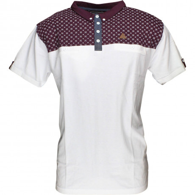 Soul Star Polo Pique T-Shirt White Burgundy Image