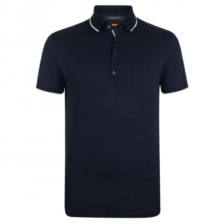 Esprit Polo Pique T-Shirt Navy Blue Image