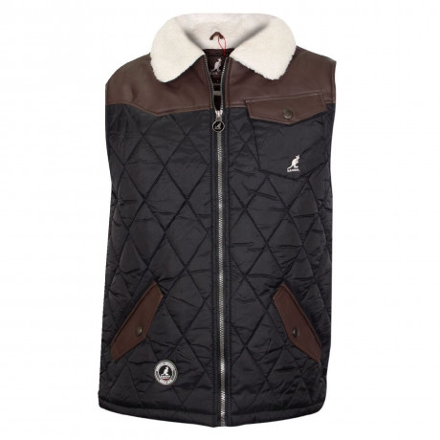 Kangol Quilt Sherpa Collar Gilet Bodywarmer Black Image