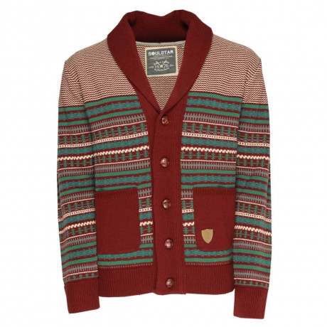 Soul Star Norwegian Knit Button Front Cardigan Burgundy Image