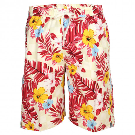 Soul Star Casual Summer Floral Shorts Beige Red Image