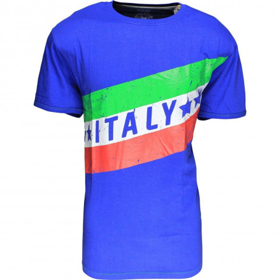 Soul Star Italy Flag T-shirt Blue Image