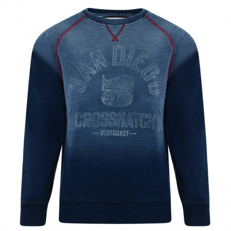 Crosshatch Crew Neck Faded Print Sweatshirt Indigo Blue Image