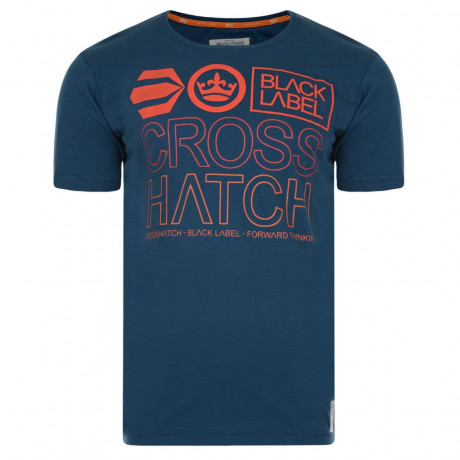 Crosshatch Printed Beatout Logo T-shirt Blue Wing Image
