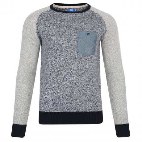 Smith & Jones Crew Neck Knitted Twister Jumper Navy Blue Image