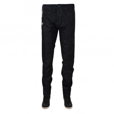 Rawcraft Loose Fit Cuffed Cargo Jeans Black Coated Denim Image