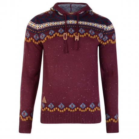 Rock & Revival Olly Fair Isle Hooded Knit Jumper Port Burgundy Image
