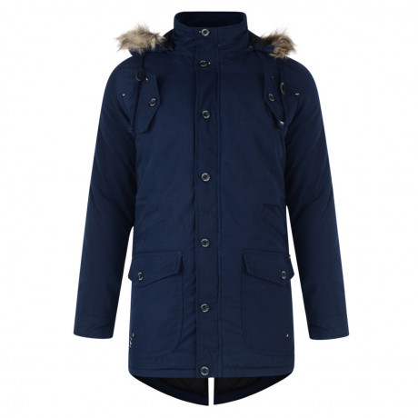 Firetrap Faux Fur Bateman Parka Jacket Dark Denim Blue Image