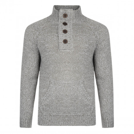 Smith & Jones Y Neck Knit Jumper Charcoal Grey Image