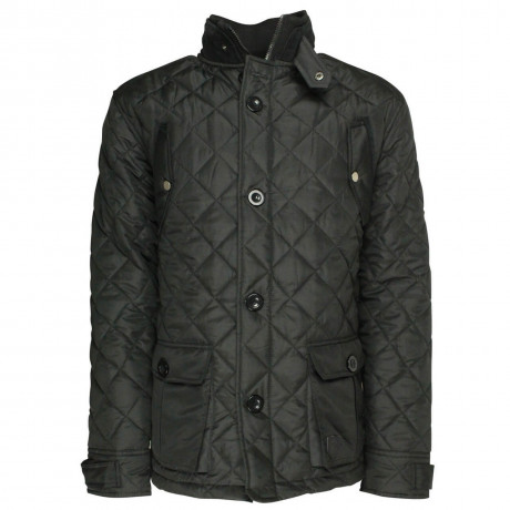 Soul Star Dimond Quilt Cord Collar Jacket Black Image