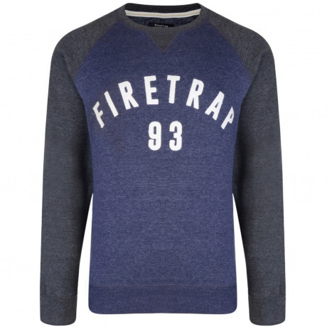 Firetrap Crew Neck Faded Print Sweatshirt Midnight Image