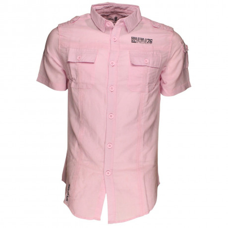 Soul Star Linen Cotton Short Sleeve Shirt Pink Image