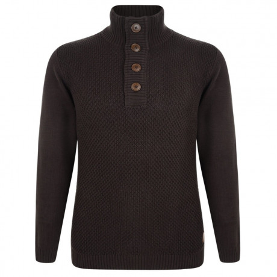 Esprit Heavy Knitted Button Neck Cotton Jumper Brown Image