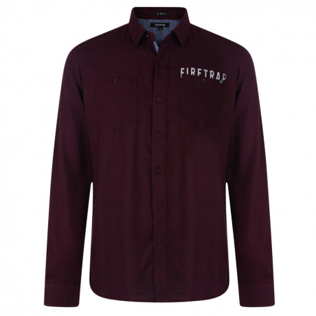 Firetrap Shirt Long Sleeve Plain Cotton Burgundy Image