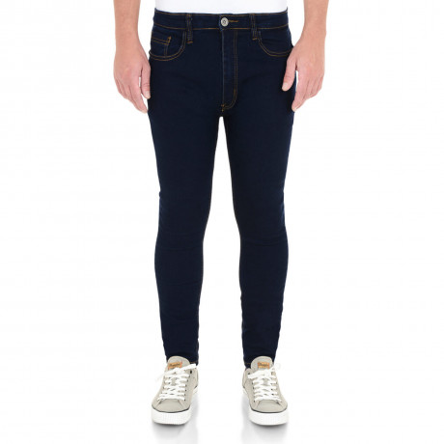 Soul Star Slim Tapered Skinny Fit Dark Indigo Blue Denim Jeans Image