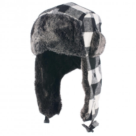 Crosshatch Aviator Faux Fur Trapper Hat Black White Check  Image