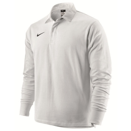 Nike Long Sleeve Cotton Rugby Shirt White Jersey Top Image