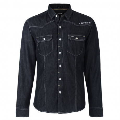 Firetrap Denim Shirt Long Sleeve Plain Cotton Black Image