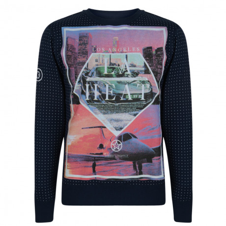 Conspiracy Print Sweatshirt LA Los Angeles Navy Blue Image