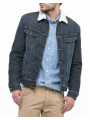 Lee Sherpa Fur Denim Trucker Jacket Faded Frost Blue