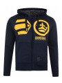 Crosshatch Pasadeno Zip Up Fur Hoodie Iris Navy