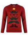 Novelty Christmas Jumper Crew Neck Xmas Tree Boots Red