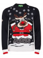 Novelty Christmas Jumper Crew Neck Santa In Chimney Navy