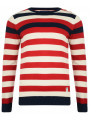 Crosshatch Crew Neck Striped Knit Jumper Tango Red