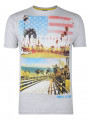 Soul Star Crew Neck Print T-shirt Grey California The Golden State