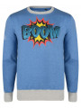 Conspiracy Crew Neck Sweatshirt Blue Comic Print BOOM!
