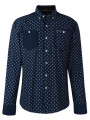Firetrap Shirt Long Sleeve Printed Navy Blue Indigo Elmar