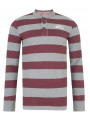 Tokyo Laundry Crew Neck Stripe Henley Top Oxblood Red