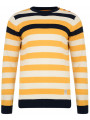 Crosshatch Crew Neck Striped Knit Jumper Yellow Feda