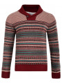Soul Star Nordic Norwegian Shawl Neck Knitted Jumper Dark Red