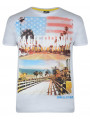 Soul Star Crew Neck Print T-shirt White California The Golden State