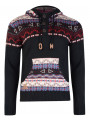 Rock & Revival Fair Isle Hooded Knit Jumper Black